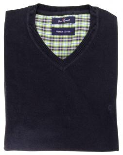 Ben Green Pullover V-Ausschnit marine dunkelblau Premium Cotton Langarm GR. XL