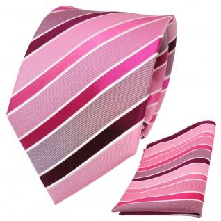TigerTie Seidenkrawatte + Einstecktuch in rosa magenta pink weiß gestreift - Vorschau 2