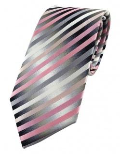 TigerTie Designer Seidenkrawatte in rosa anthrazit silber gestreift