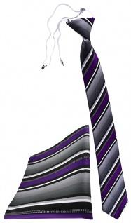 TigerTie Sicherheits Krawatte + Einstecktuch in lila silber grau weiss gestreift