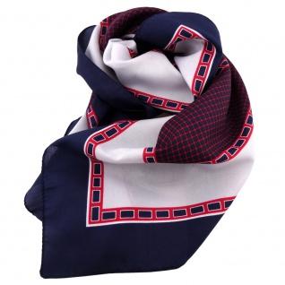 Damen Satin Halstuch blau dunkelblau rot silber 90 x 90 - Tuch Nickituch Schal
