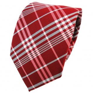 TigerTie Seidenkrawatte rot feuerrot silber grau kariert - Krawatte Seide Tie