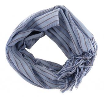Schal in blau braun gestreift mit Fransen - Gr. 180 x 50 cm
