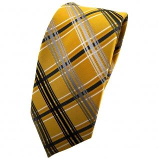 Schmale TigerTie Designer Krawatte gold silber grau anthrazit kariert - Binder