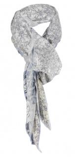 Halstuch in blau grau beige geblümt gemustert - Tuch Gr. 100 x 100 cm