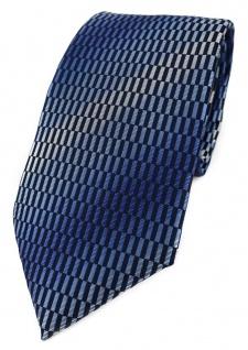 TigerTie Designer Krawatte in blau dunkelblau marine royal silber grau gemustert