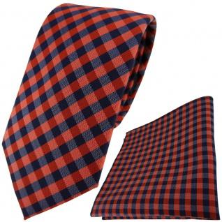 TigerTie Designer Krawatte + Einstecktuch in orange marine dunkelblau kariert