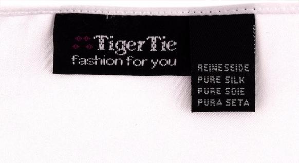 schmale TigerTie Seidenfliege + Seideneinstecktuch in weiss einfarbig + Box - Vorschau 2