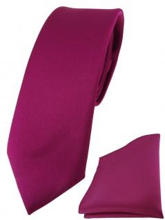 schmale TigerTie Designer Krawatte + Einstecktuch in magenta einfarbig uni