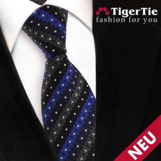 TigerTie Designer Krawatte blau schwarz anthrazit silber gestreift - Binder Tie - Vorschau 3