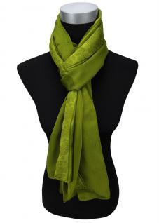 Satin Chiffon Schal in grün Uni einfarbig - Gr. 160 x 100 cm - Halstuch