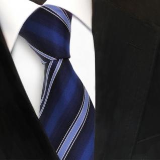 schöne TigerTie Designer Seidenkrawatte blau dunkelblau royal silber gestreift