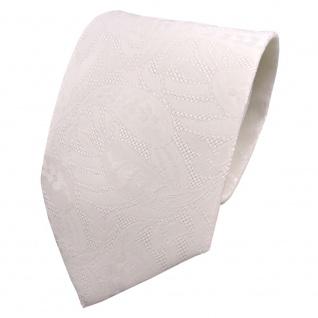 Designer Krawatte creme perlweiß weiß hellelfenbein gemustert - Schlips Binder