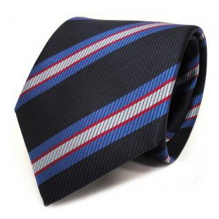 Schicke Seidenkrawatte blau dunkelblau rot gestreift - Krawatte Seide Tie