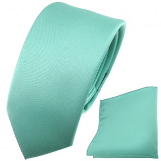 schmale TigerTie Satin Krawatte + Einstecktuch grün mint Uni
