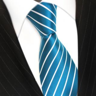 TigerTie Krawatte türkis türkisblau weiß silber gestreift - Schlips Binder Tie - Vorschau 3