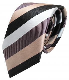 Designer Seidenkrawatte schwarz lila gold hellblau gestreift - Krawatte Seide