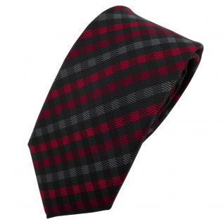 Schmale TigerTie Designer Krawatte rot anthrazit schwarz kariert - Schlips Tie