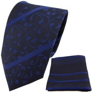 TigerTie Designer Krawatte + Einstecktuch blau dunkelblau schwarz gestreift