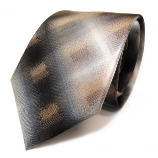 TigerTie Seidenkrawatte in anthrazit grau schwarz gold beige kariert - Krawatte