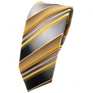 schmale TigerTie Krawatte gold gelb silber anthrazit grau gestreift - Tie Binder