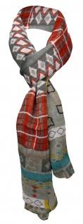 Viskose Schal in grau rot tükis gelb weiß gemustert - Gr. 180 x 70 cm - Halstuch