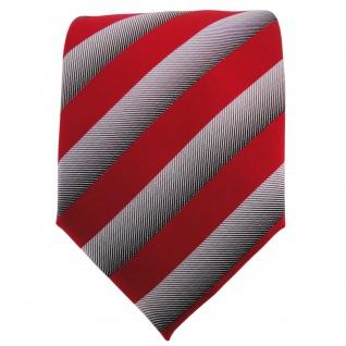 TigerTie Designer Krawatte verkehrsrot silbergrau gestreift - Binder Tie - Vorschau 2