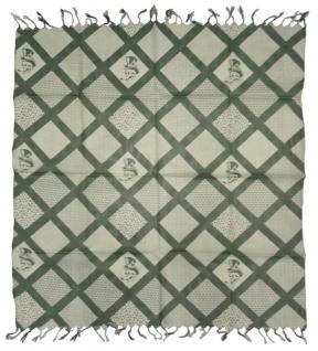 Halstuch in khaki olivgrün grün Motiv Zylinder-Totenkopf gemustert mit Fransen - Vorschau 2