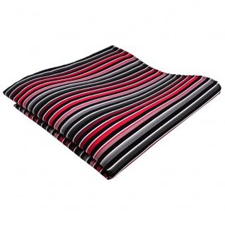 Designer Seideneinstecktuch rot anthrazit grau silber gestreift - Tuch Seide