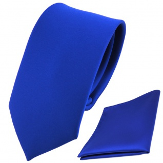 schmale TigerTie Kinderkrawatte + Einstecktuch blau marine royal uni einfarbig