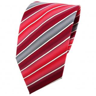 TigerTie Krawatte rot verkehrsrot tomatenrot creme grau gestreift - Binder Tie