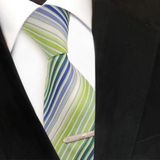 XXL Designer Krawatte grün hellgrün blau weiß creme gestreift + Krawattennadel