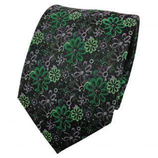 TigerTie Seidenkrawatte grün smaragdgrün anthrazit gemustert - Krawatte Seide