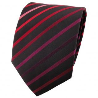 schöne TigerTie Designer Krawatte rot violett rose schwarz gestreift - Binder