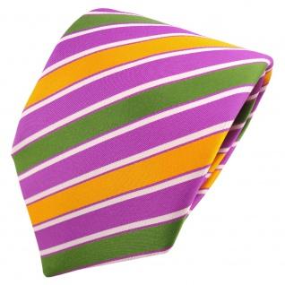 TigerTie Satin Krawatte violett lila grün gelb dunkelgelb weiß gestreift- Binder