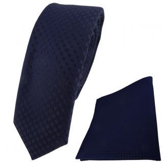 schmale TigerTie Krawatte + Einstecktuch in marine dunkelblau gepunktet