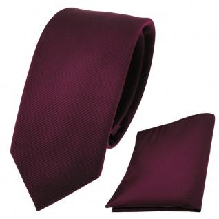 schmale Designer TigerTie Krawatte + Einstecktuch rot weinrot Uni Rips - Binder