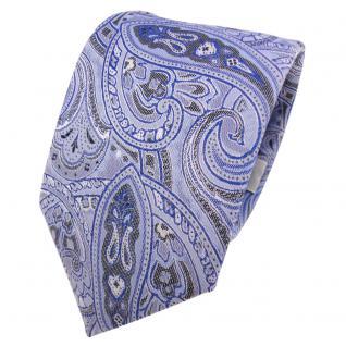 Designer Krawatte blau hellblau grau weiß Paisley gemustert - Schlips Binder Tie