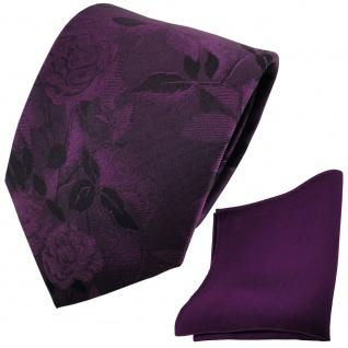 Set Seidenkrawatte + Einstecktuch violett gemustert - Krawatte + Tuch 100% Seide - Vorschau 2
