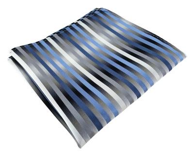 TigerTie Designer Seideneinstecktuch in blau anthrazit grau silber gestreift