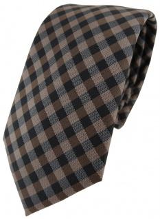 Modische TigerTie Designer Krawatte in braun dunkelbraun anthrazit kariert