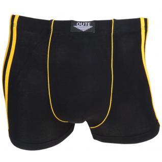 Boxershorts Pants Retro Shorts Unterhose schwarz-gelb Baumwolle Gr. M