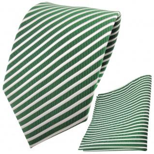 TigerTie Krawatte + Einstecktuch grün smaragdgrün silber weiß gestreift