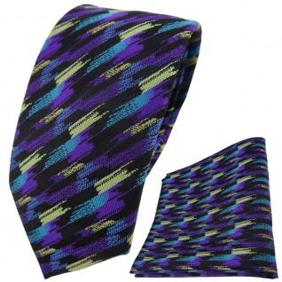 TigerTie Krawatte + Einstecktuch in lila türkis gold schwarz gestreift