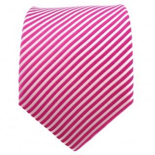 TigerTie Seidenkrawatte pink telemagenta silber weiß gestreift - Krawatte Seide - Vorschau 2