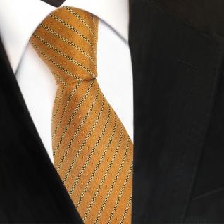 Designer Seidenkrawatte gold ocker schwarz gestreift- Krawatte Seide Silk Tie