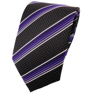 schöne TigerTie Krawatte in lila flieder silberweiss schwarz gestreift - Binder Tie