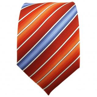 TigerTie Krawatte orange rotorange dunkelorange blau creme gestreift - Binder - Vorschau 2