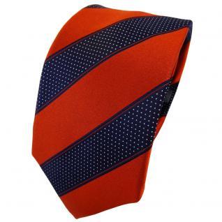 Enrico Sarto Seidenkrawatte orange blaulila silber gestreift - Krawatte Seide