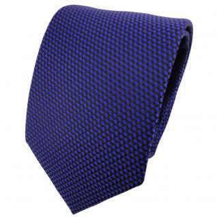 schöne Krawatte in ultramarinblau schwarz gemustert - Krawatte Binder Tie